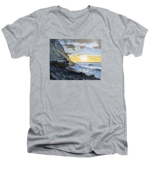 Men's V-Neck T-Shirt featuring the painting Sunset At Warren Point Duckpool by Lawrence Dyer