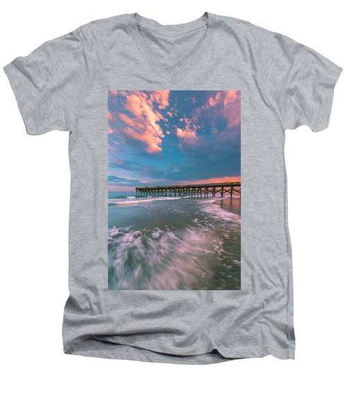 Sunset At Wilmington Crystal Pier In North Carolina Men's V-Neck T-Shirt