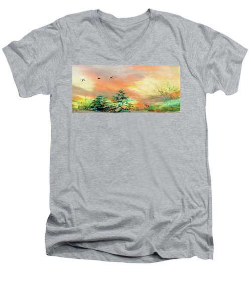 Men's V-Neck T-Shirt featuring the painting Sunset At Winter Wonderland by Mike Breau