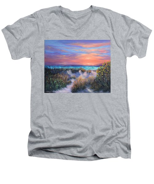 Sunset Beach Painting With Walking Path And Sand Dunesand Blue Waves Men's V-Neck T-Shirt