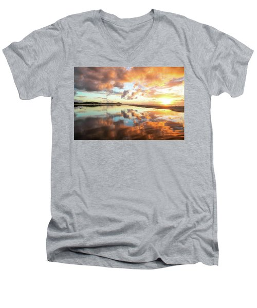 Sunset Beach Reflections Men's V-Neck T-Shirt