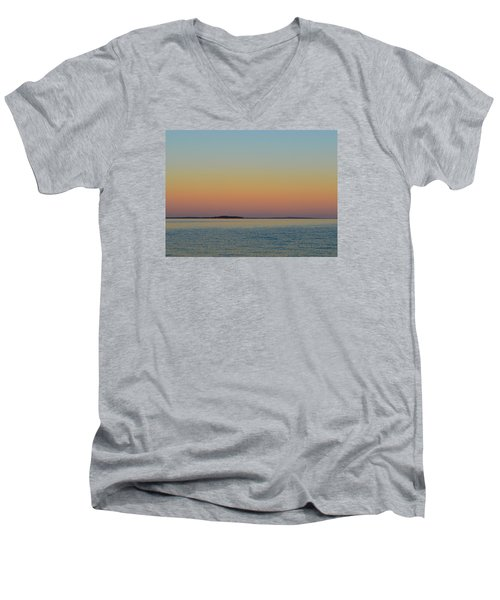 Men's V-Neck T-Shirt featuring the photograph Sunset Blend At The Outer Harbor 2  by Lyle Crump