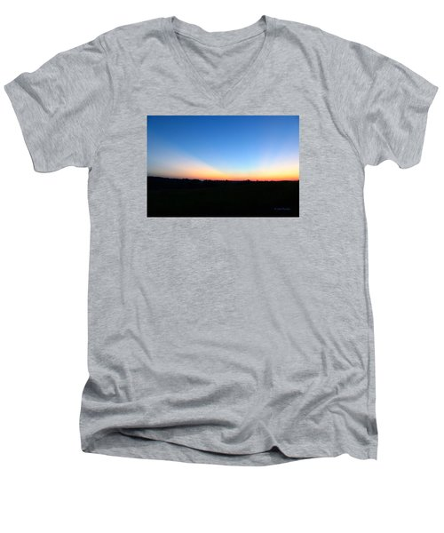 Men's V-Neck T-Shirt featuring the digital art Sunset Blue by Jana Russon