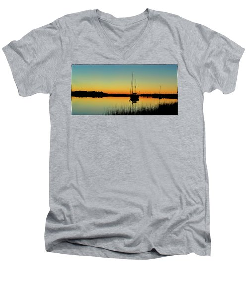 Sunset Bowens Island Men's V-Neck T-Shirt
