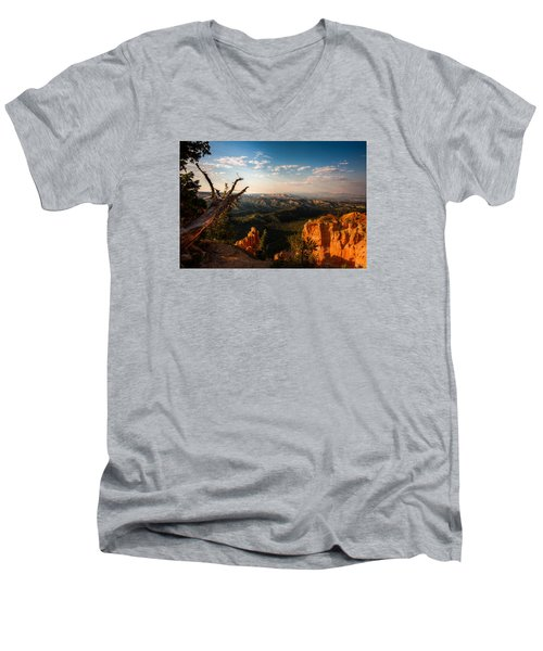 Sunset Bryce Men's V-Neck T-Shirt by Rebecca Hiatt