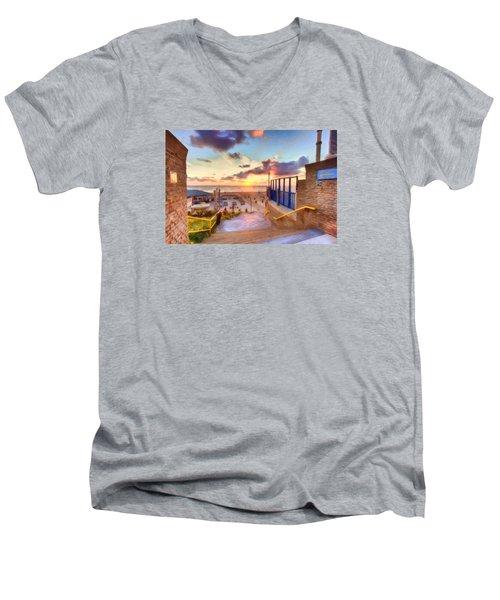 Sunset By The Sea Men's V-Neck T-Shirt by Nadia Sanowar
