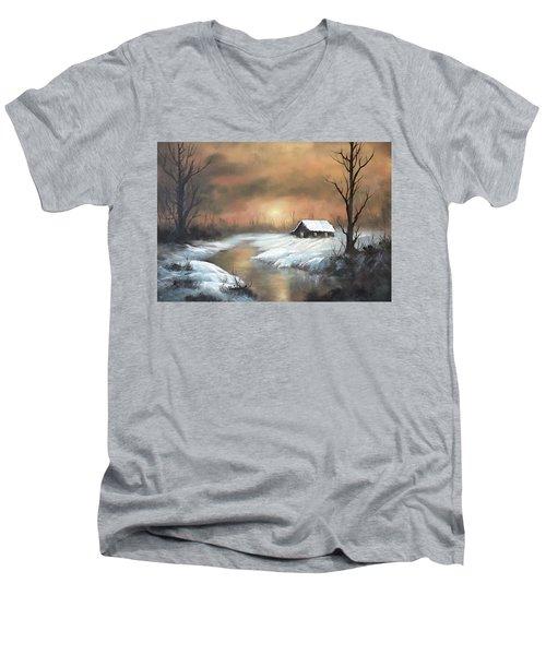 Sunset Cabin  Men's V-Neck T-Shirt