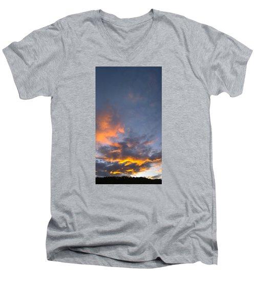 Sunset Cloud Scape Over Bryson City Nc Men's V-Neck T-Shirt by Kelly Hazel