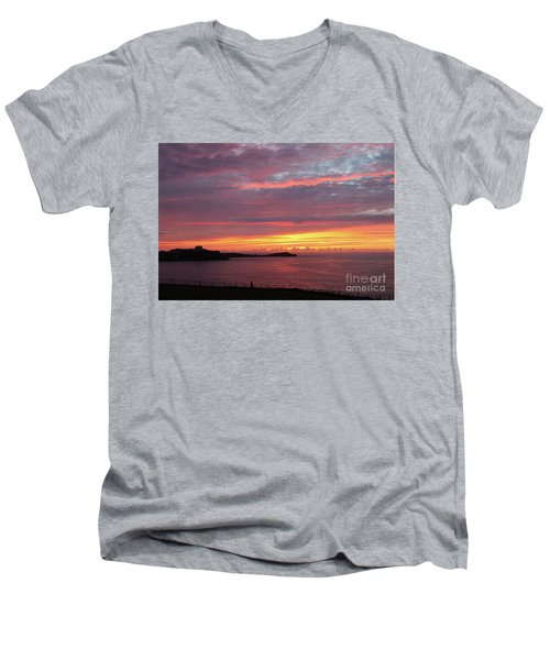 Men's V-Neck T-Shirt featuring the photograph Sunset Clouds In Newquay Cornwall by Nicholas Burningham