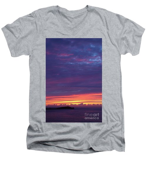 Men's V-Neck T-Shirt featuring the photograph Sunset Clouds In Newquay, Uk by Nicholas Burningham