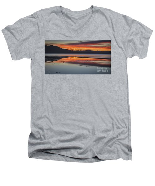 Men's V-Neck T-Shirt featuring the photograph Sunset Colors by Mitch Shindelbower