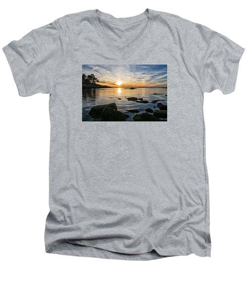 Sunset Cove Gloucester Men's V-Neck T-Shirt by Michael Hubley