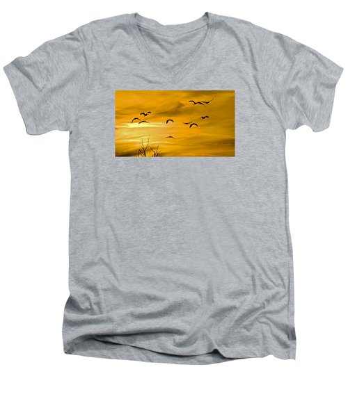 Men's V-Neck T-Shirt featuring the photograph Sunset Fliers by Wanda Krack