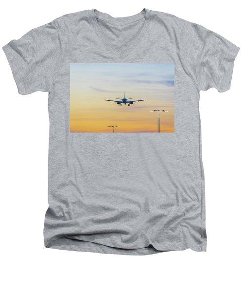 Sunset Flight Men's V-Neck T-Shirt by Ross G Strachan