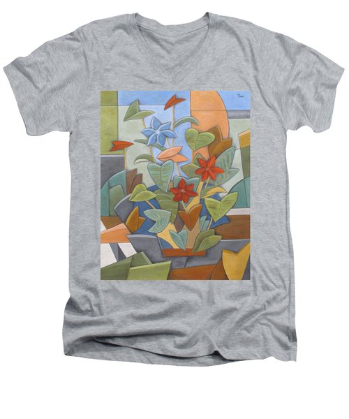Sunset Flowerbed Men's V-Neck T-Shirt by Trish Toro