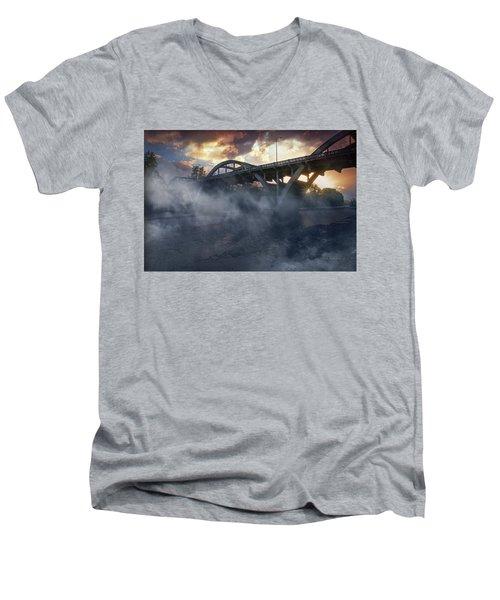 Sunset Fog At Caveman Bridge Men's V-Neck T-Shirt by Mick Anderson