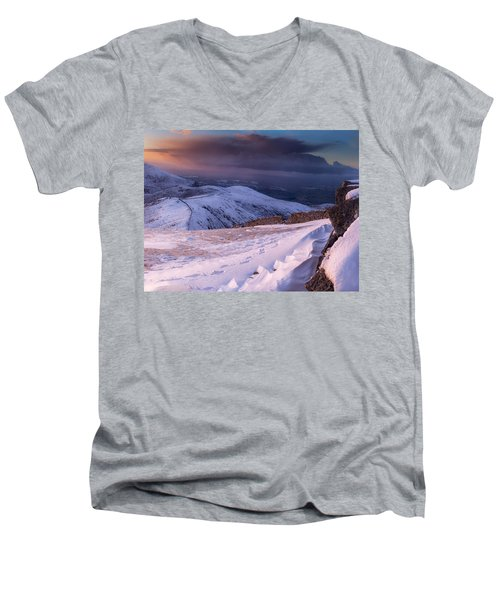 Sunset Following The Mourne Wall Men's V-Neck T-Shirt