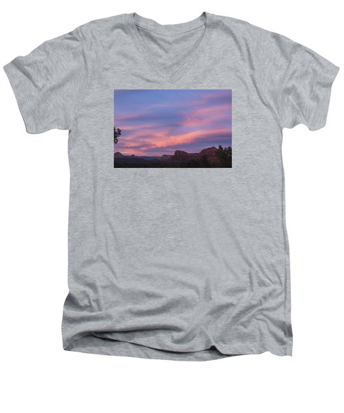 Men's V-Neck T-Shirt featuring the photograph Sunset From Bell Rock Trail by Laura Pratt