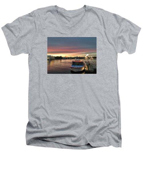Sunset From The Boardwalk Men's V-Neck T-Shirt by John Black