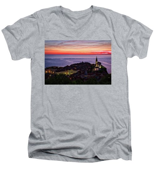 Men's V-Neck T-Shirt featuring the photograph Sunset From The Walls #3 - Piran Slovenia by Stuart Litoff