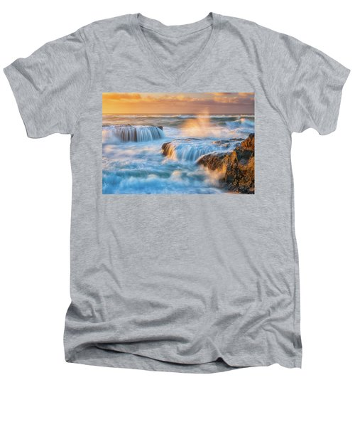 Men's V-Neck T-Shirt featuring the photograph Sunset Fury by Darren White