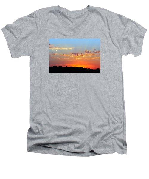 Men's V-Neck T-Shirt featuring the digital art Sunset Glory Orange Blue by Jana Russon