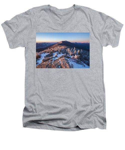Sunset Glow On Franconia Ridge Men's V-Neck T-Shirt