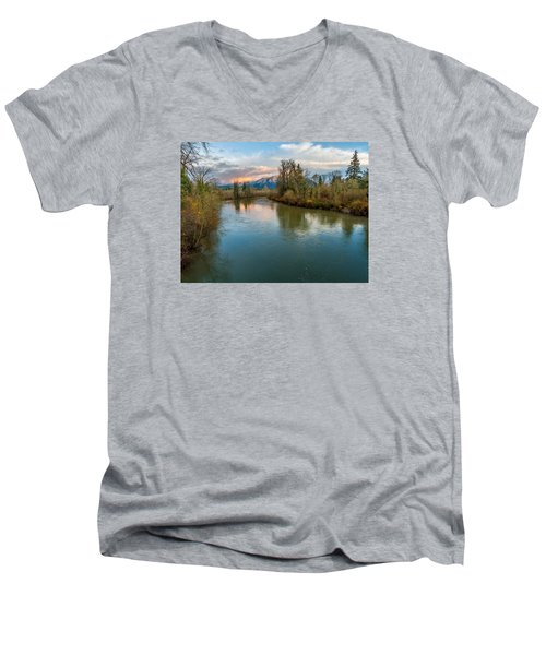 Sunset Glow Over The Snoqualmie River Men's V-Neck T-Shirt by Rob Green