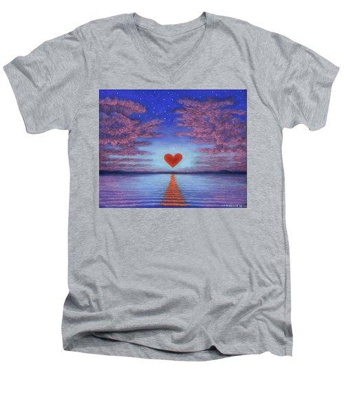 Sunset Heart 02 Men's V-Neck T-Shirt