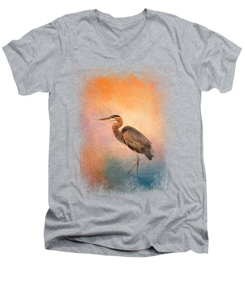 Sunset Heron Men's V-Neck T-Shirt by Jai Johnson