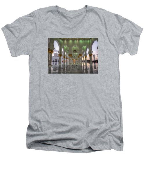 Sunset Hindu Temple Men's V-Neck T-Shirt by John Swartz