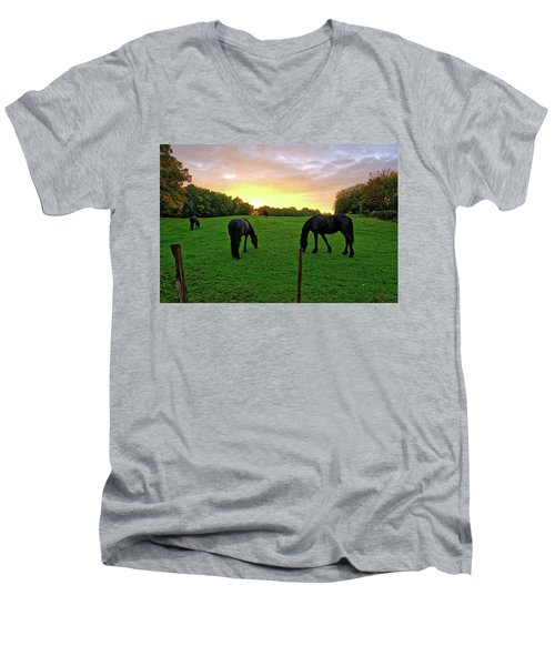 Sunset Horses Men's V-Neck T-Shirt
