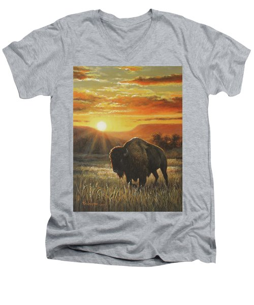 Men's V-Neck T-Shirt featuring the painting Sunset In Bison Country by Kim Lockman