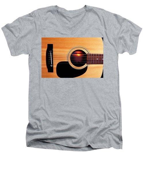 Sunset In Guitar Men's V-Neck T-Shirt