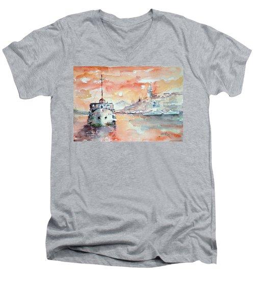 Sunset In Istanbul... Men's V-Neck T-Shirt