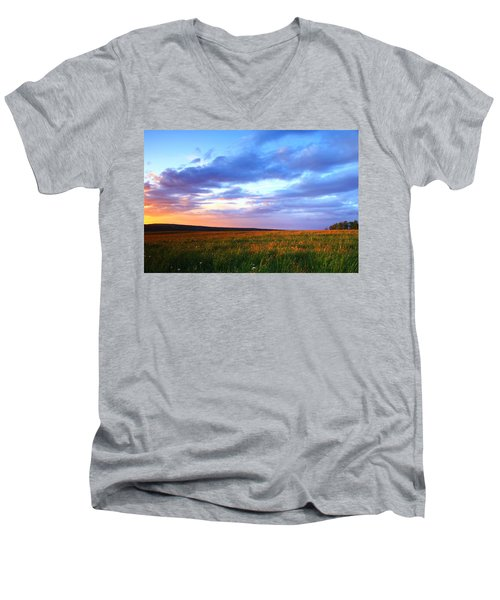 Sunset In Ithaca South Hill Men's V-Neck T-Shirt
