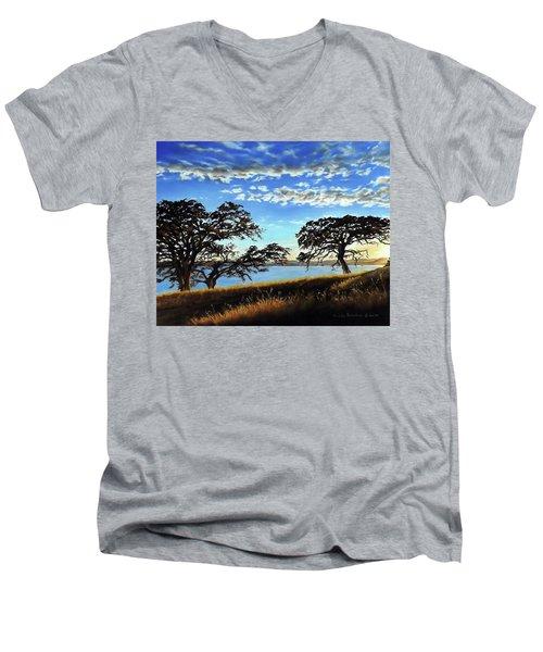 Sunset In Lucerne Men's V-Neck T-Shirt by Linda Becker