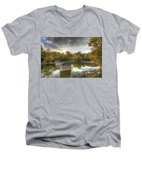 Men's V-Neck T-Shirt featuring the digital art Sunset In Murphy by Sharon Batdorf