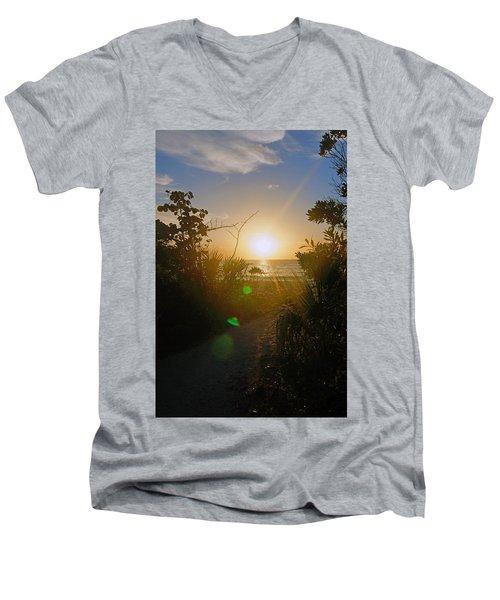 Sunset In Naples At Barefoot Beach Men's V-Neck T-Shirt