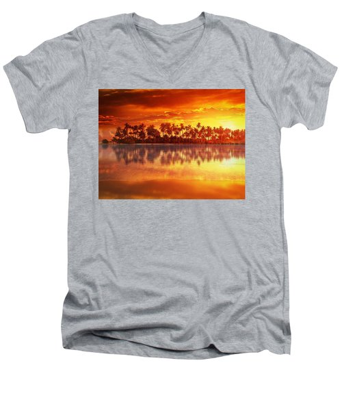 Sunset In Paradise Men's V-Neck T-Shirt by Gabriella Weninger - David