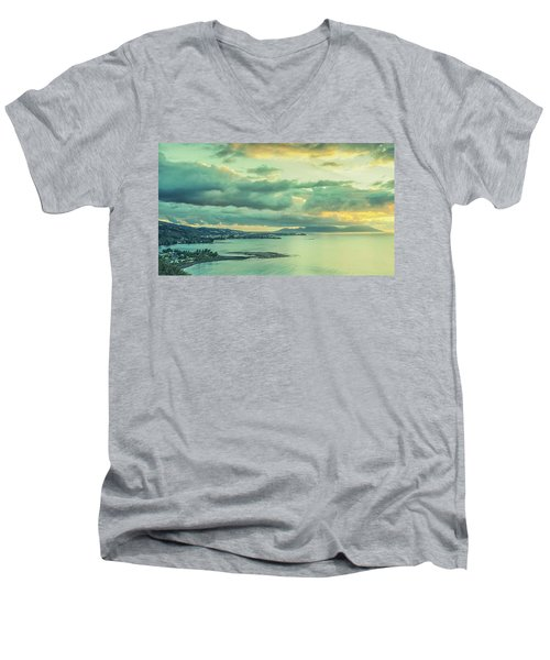 Men's V-Neck T-Shirt featuring the photograph Sunset In Tahiti by Gary Slawsky