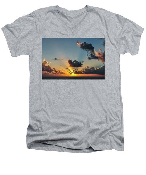Sunset In The Caribbean Sea Men's V-Neck T-Shirt