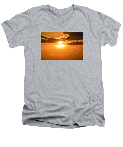 Men's V-Neck T-Shirt featuring the photograph Sunset In The Clouds  by Lyle Crump