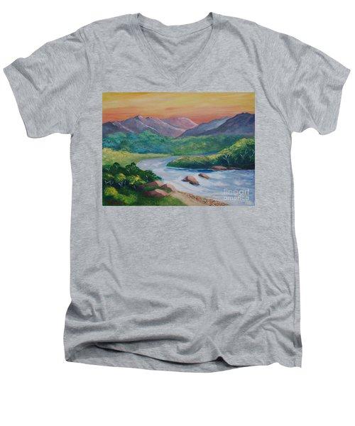 Sunset In The River Men's V-Neck T-Shirt