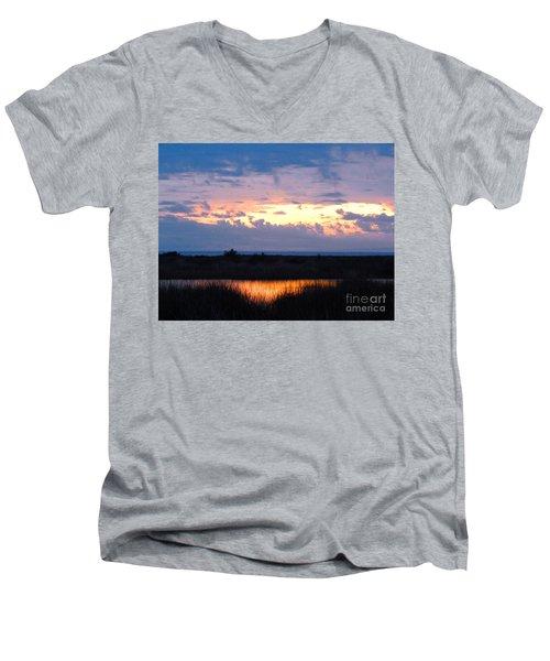 Sunset In The River Sea Beyond Men's V-Neck T-Shirt