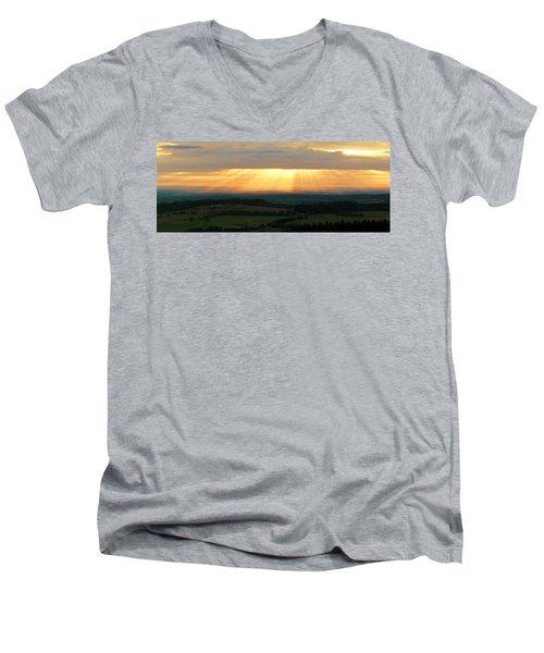 Sunset In Vogelsberg Men's V-Neck T-Shirt