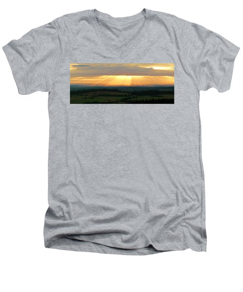 Sunset In Vogelsberg Men's V-Neck T-Shirt