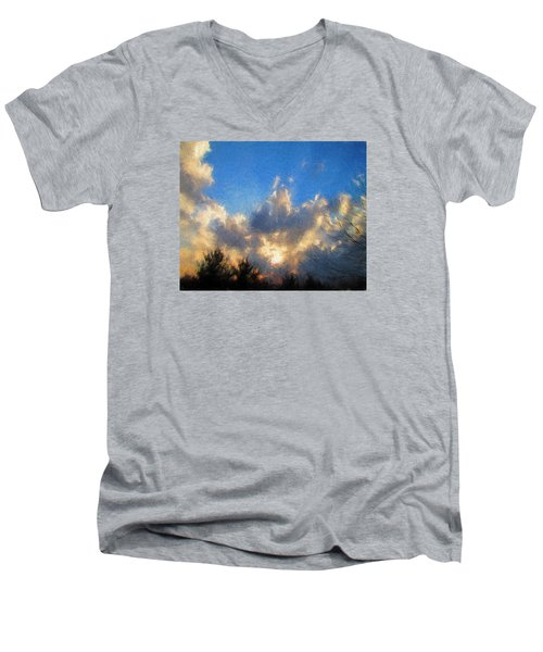 Sunset Men's V-Neck T-Shirt by John Freidenberg
