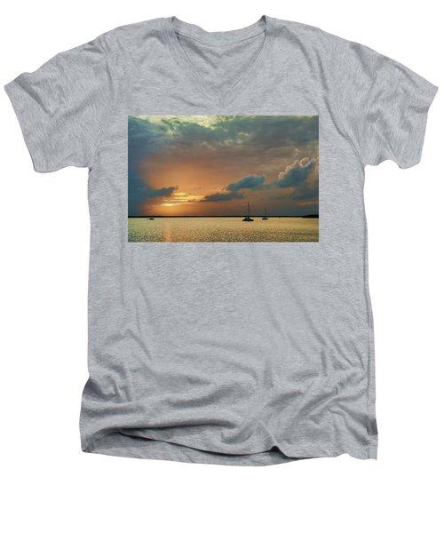 Sunset, Key Largo Men's V-Neck T-Shirt by Dana Sohr
