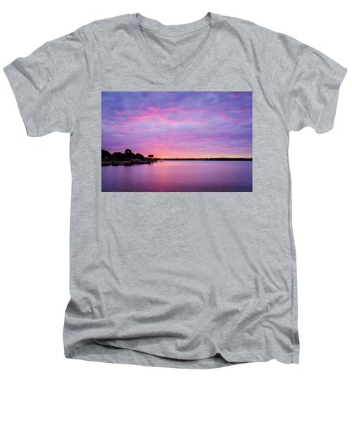 Sunset Lake Arlington Texas Men's V-Neck T-Shirt